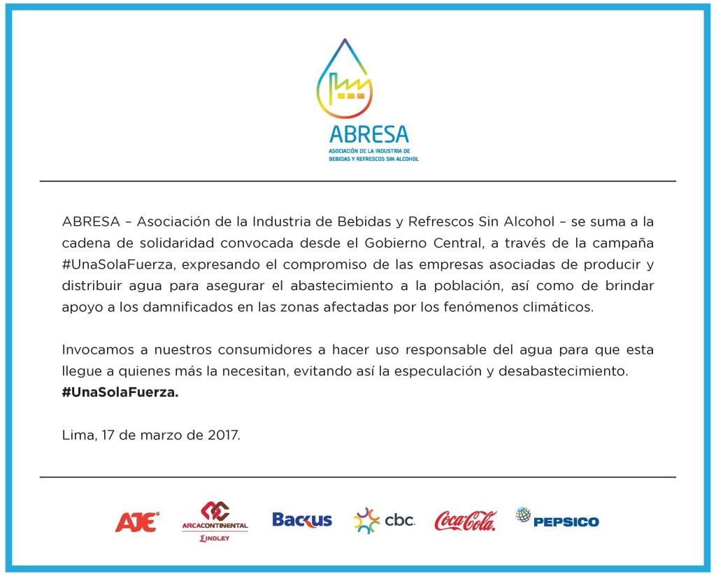 Comunicaod ABRESA #unasolafuerza