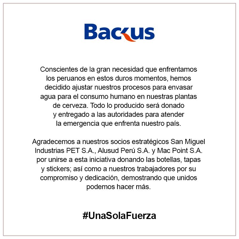 comunicado BACKUS #unasolafuerza